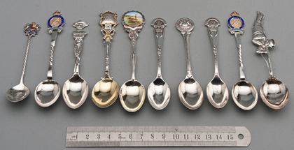 Ten Sterling Silver and Enamel Souvenir Spoons - Rifle Shooting and Boer War
