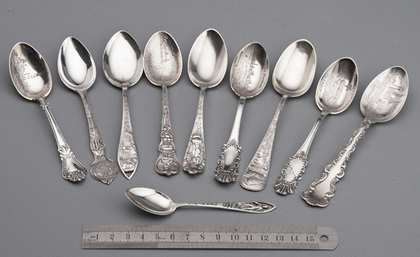 Ten American Sterling Silver Souvenir Spoons - California, Honolulu, Boulder Dam, Philadelphia, Hawaii, Washington, Detroit, Chicago