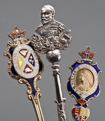 Ten Sterling Silver and Enamel Souvenir Spoons -Royal Coronations and Canadian