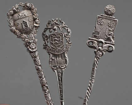 Ten Sterling Silver Souvenir Spoons - British Cities