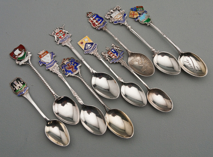 Ten Sterling Silver and Enamel Souvenir Spoons - British Cities