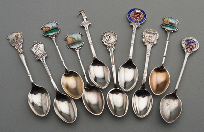 Ten Sterling Silver and Enamel Souvenir Spoons - Shipping & Sporting
