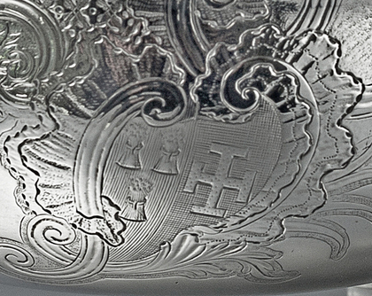 Early Georgian Rococo Sterling Silver Sauce Boat - Richard Pargeter, Alleyn Family Crest, Lidsel Family