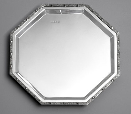 Celtic Sterling Silver Tray - Octagonal, Zoomorphic Design