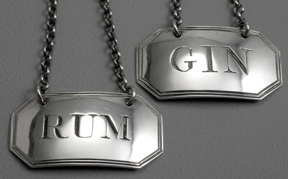 Georgian Silver Wine Label Pair  - Gin & Rum - Phipps & Robinson