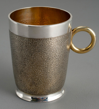 Antique Silver Gilded Christening Mug - Ox Eye Handle