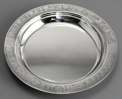 Scottish Sterling Silver Nursery Christening Baby Plate - Edward & Sons, Glasgow - Mesopotamia, Fable