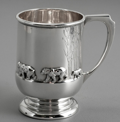 Sterling Silver Three Bears Christening Mug - Mappin & Webb - Nursery Rhyme