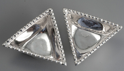 Traprain Treasure Sterling Silver Triangular Bowls (Pair) - Authorised Reproductions, Brook & Son - Large Size