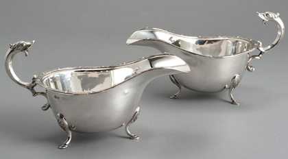 Sterling Celtic Silver Sauce Boats (Pair) - Zoomorphic Design, Mythical Beasts