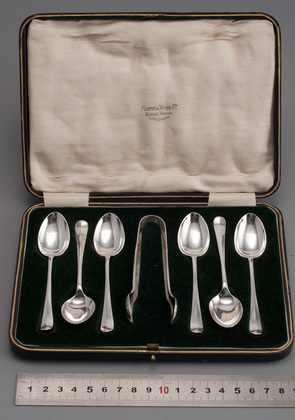 Sterling Silver Rat Tail Hanoverian Teaspoons (6) and Sugartongs - Mappin & Webb