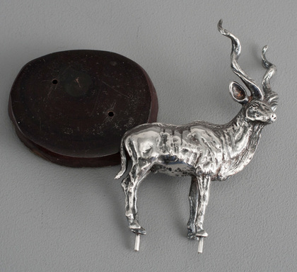 Solid Silver Kudu Antelope on Wooden Base - Silver Creations, Zimbabwe