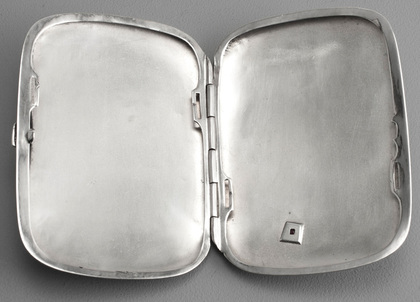 German Silver Cigarette Case - Horseshoe, Ruby, Riding Crop