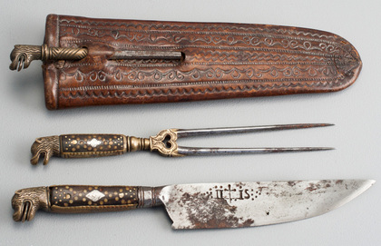 17th Century Traveling Knife and Fork Set - Leather Sheath