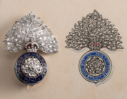 Royal Fusiliers City of London Regiment Diamond, Platinum, Gold and Enamel Sweetheart Brooch