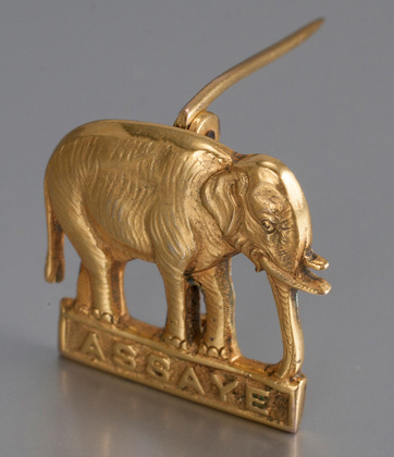 Indian Colonial 9 Carat Gold Military Sweetheart Brooch - Elephant, Assaye, Royal Highland Fusiliers, Hamilton & Co.