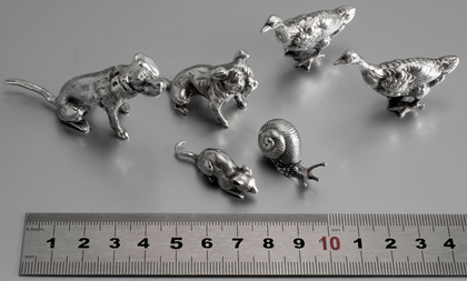 Collection of 6 Solid Sterling Silver Miniature Animals - Dogs, Geese, Snail, Mouse