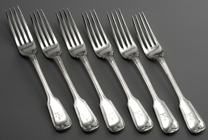 Military Fiddle Thread Silver Tableforks - Set of 6