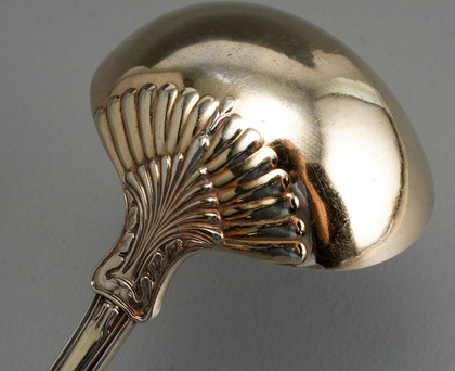 Rare Regency Rose Pattern Antique Silver Punch Ladle - Jonathan Hayne