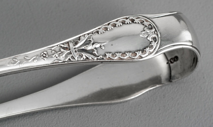 Paxton Pattern Antique Silver Sugar Tongs - George Adams, Chawner
