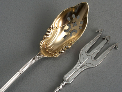 Antique American Sterling Silver Olive Spoon & Olive Fork - Towle Empire, Clark & Biddle