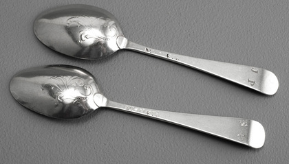 Miniature Hanoverian Silver Scroll Back (Fancy Back) Toy Spoons - William Pinder