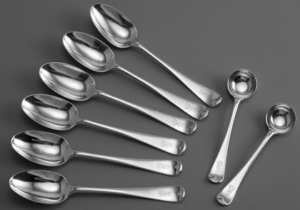 Antique Silver Teaspoons (Set of 6) and Matching Saltspoons (Pair) - Earl's Coronet, C Monogram