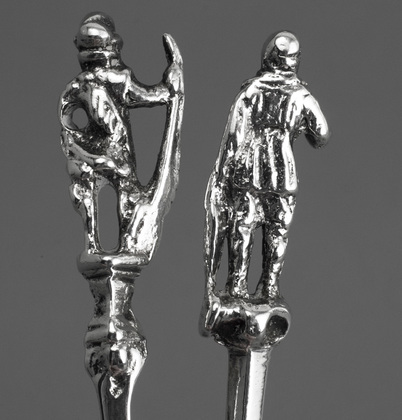 18th Century Dutch Silver Memorial or Figural Spoons (Two) - Amsterdam, Johannes Selling, Delft, Adriaen Brandt