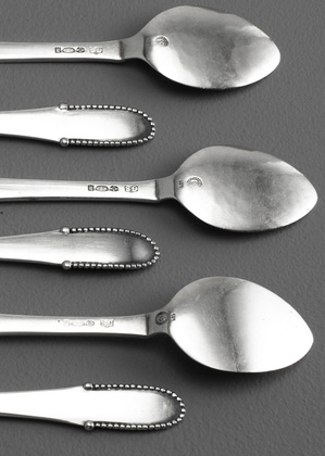 Georg Jensen Beaded Pattern Ice Cream Spoons (Set of 6) - Kugle # 7