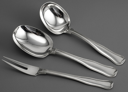 Georg Jensen Old Danish (Dobbeltriflet) Sterling Silver Serving Set (Serving Spoon, Gravy Ladle, Meat Fork)