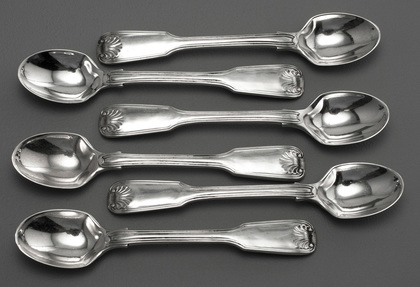 Antique Silver Fiddle, Thread & Shell Egg Spoons (Set of 6) - Holland, Aldwinckle & Slater