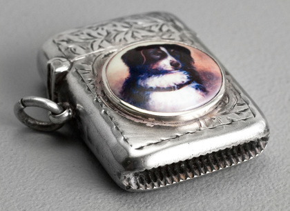 Antique Silver and Enamel Dog Vesta Case - Border Collie