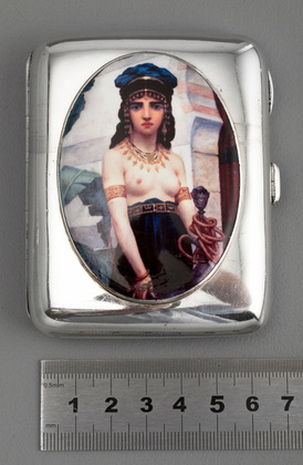 Victorian Silver and Enamel Erotica Cigarette Case - Nude Middle Eastern with Hookah