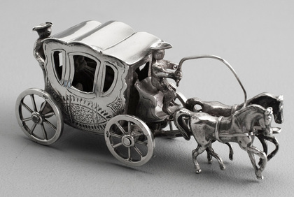 Dutch Antique Silver Miniature Horse and Carriage - Gebruder van Straten, Hoorn