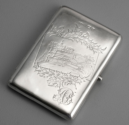 Victorian Silver Engraved Castletop Cigarette Case - Edinburgh Castle
