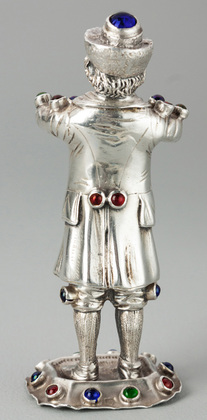 Hanau Silver Bejewelled Cabochon Musician - 13 Loth, Trumpet Player