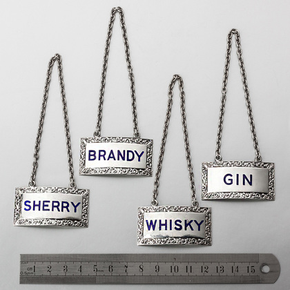 Cast Sterling Silver & Enamel Wine Labels (Set of 4) - Whisky, Brandy, Sherry, Gin
