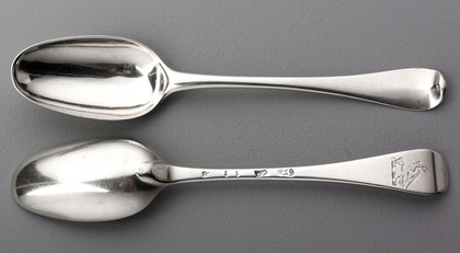 Paul Hanet Early Georgian Hanoverian Dessert or Child's Silver Spoons (Pair)