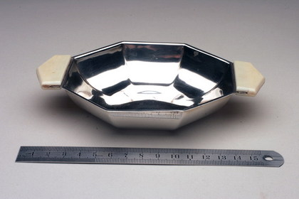 Art Deco silver and ivory sweet dish.