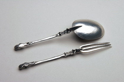 Rare 17th Century Memorial Dutch Silver Spoon and Fork set - Sara Lewes, Kwab Auricular Style, Earliest Known Silver Fork from New York?