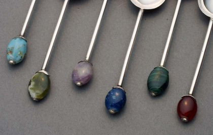 Liberty Silver Coffee Spoon set (6) - Semi Precious stones