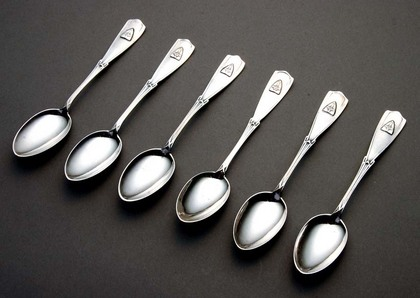 Jugendstil Silver Teaspoon Set (6) - Military Crest