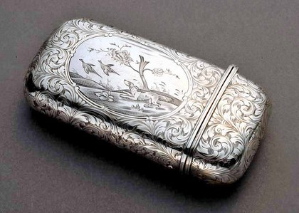 Nathaniel Mills Silver Cigar Case - Hunting scene
