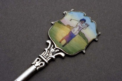 Silver and Enamel Golf teaspoon