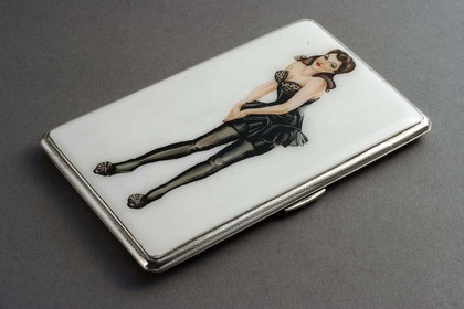 Silver Enamel Cigarette Case - Pin-up girl