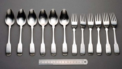 Colonial Indian Silver Dessert Set (6 forks, 6 spoons)